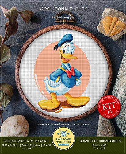 Studio Donald - Donald Duck #K291 Cross Stitch Kit | Disney Cross Stitch Patterns | Embroidery Kits | Cross Stitch Designs | Counted Cross Stitch | Stitch Patterns