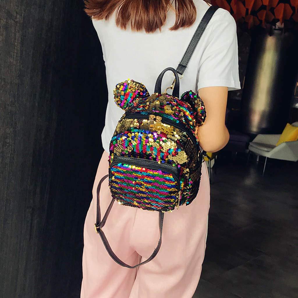 JJLIKER Women Sequin Backpack Mickey Rucksack Cartoon Satchels Pack Handbags Totes Square Mini Bags