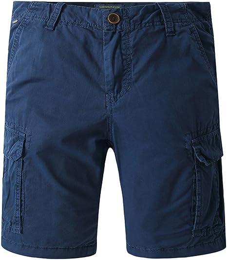 TALLA S. JINSHI Hombre Pantalones Cortos Cargo de Algodón