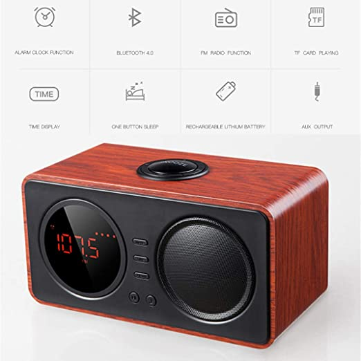 Altavoz Bluetooth de madera para reloj despertador, Retro Estéreo Bluetooth inalámbrico Altavoz Radio FM Reloj despertador, Conexión por cable portátil Temporizador de apagado, repetición,Brown: Amazon.es: Jardín