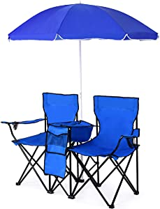 GLACER Folding Double Picnic Chair, Portable Camping Chair with Umbrella Mini Table Beverage Holder Carrying Bag, Folding Chair for Patio Beach Park Balcony Use