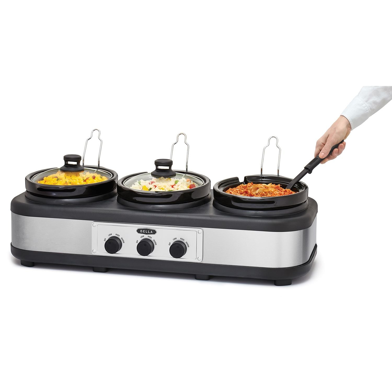 Bella triple Slow Cooker And Server With Lid Rests And Spoons 2.5 Qt Black/Stainless Steel