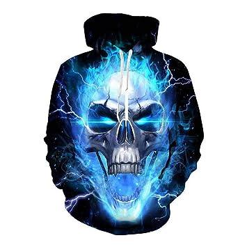 Sudaderas con capucha para hombre, Sudadera con capucha de calavera azul 3D Moda otoño Ropa