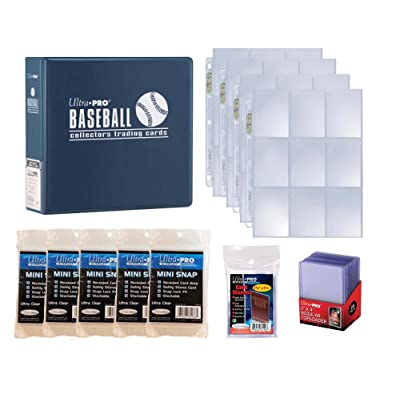 Ultra Pro Baseball Card Collector Starter Kit – Blue Album, 9 Pocket Pages, Sleeves, Top Loaders & Mini Snap Holders: Sports & Outdoors