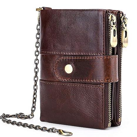 Men/'s Wallet Genuine Leather 14 Card Slots Card Holder RFID Blocking Zip Pocket