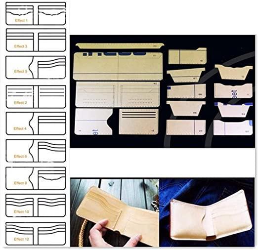 Hanperal 16pcs Clear Acrylic Wallet Pattern Stencil Template Set Leather Acrylic Template Leather Craft DIY Tool