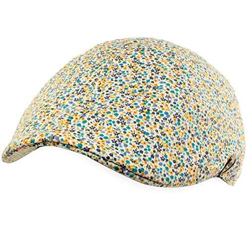 Cotton Summer Floral Duck Bill Visor Golf Ivy Driver Cab Cap Hat Yellow LXL 58cm
