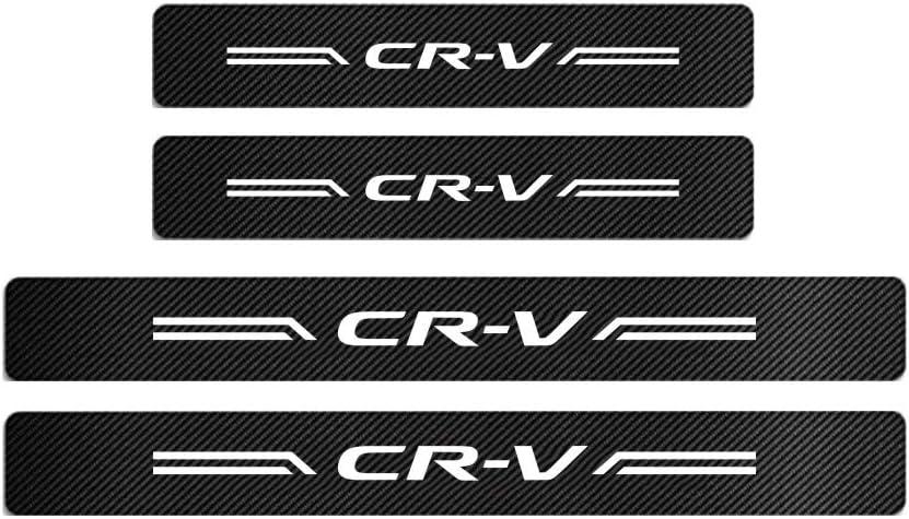 GEERUI 4PCS Advanced Threshold Protection Sticker Reflective Carbon Fiber Vinyl Sticker Decorative Door Entry Guard Door Threshold Scratch Pad Film for Honda CRV. White-CRV