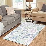 InterestPrint Home Decor Ocean Seashell Starfish Rug Carpet 2'7'' x 1'8'', Hawaii Summer Modern Floor Area Rug Mat for Boy Girl Playroom Decoration