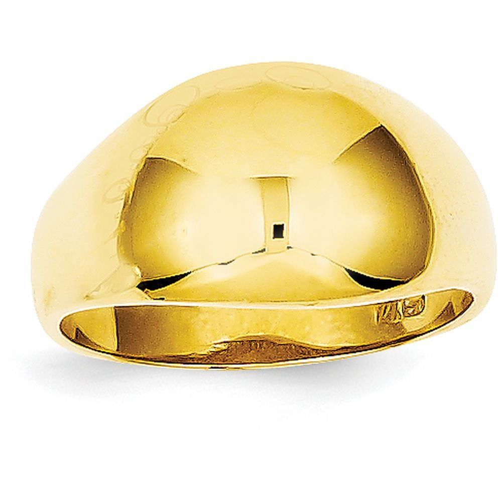 14k Yellow Gold 10mm Domed-top Tapered Cigar Band Ring (8mm Width) - Size 4.5