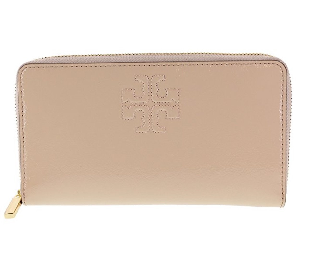 Tory Burch Charlie Patent Leather Zip Continental Wallet, Style No. 34048 (Light Oak)