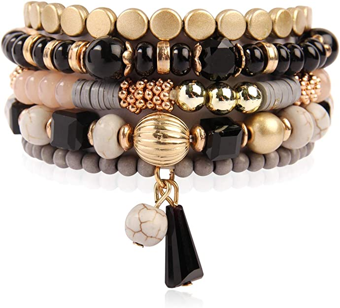 CHEAP handmade mixed bead triple elasticated bracelet wear 8 ways festival party