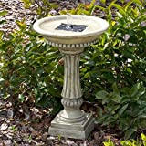 Smart Solar 27686M01 Ashbourne Granite Style Solar Birdbath Water Fountain with Integrated Solar Panel by Smart Solar