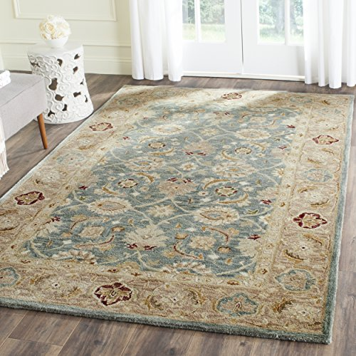 Safavieh Antiquities Collection Handmade Traditional Oriental Teal Blue and Taupe Wool Area Rug (6' x 9')