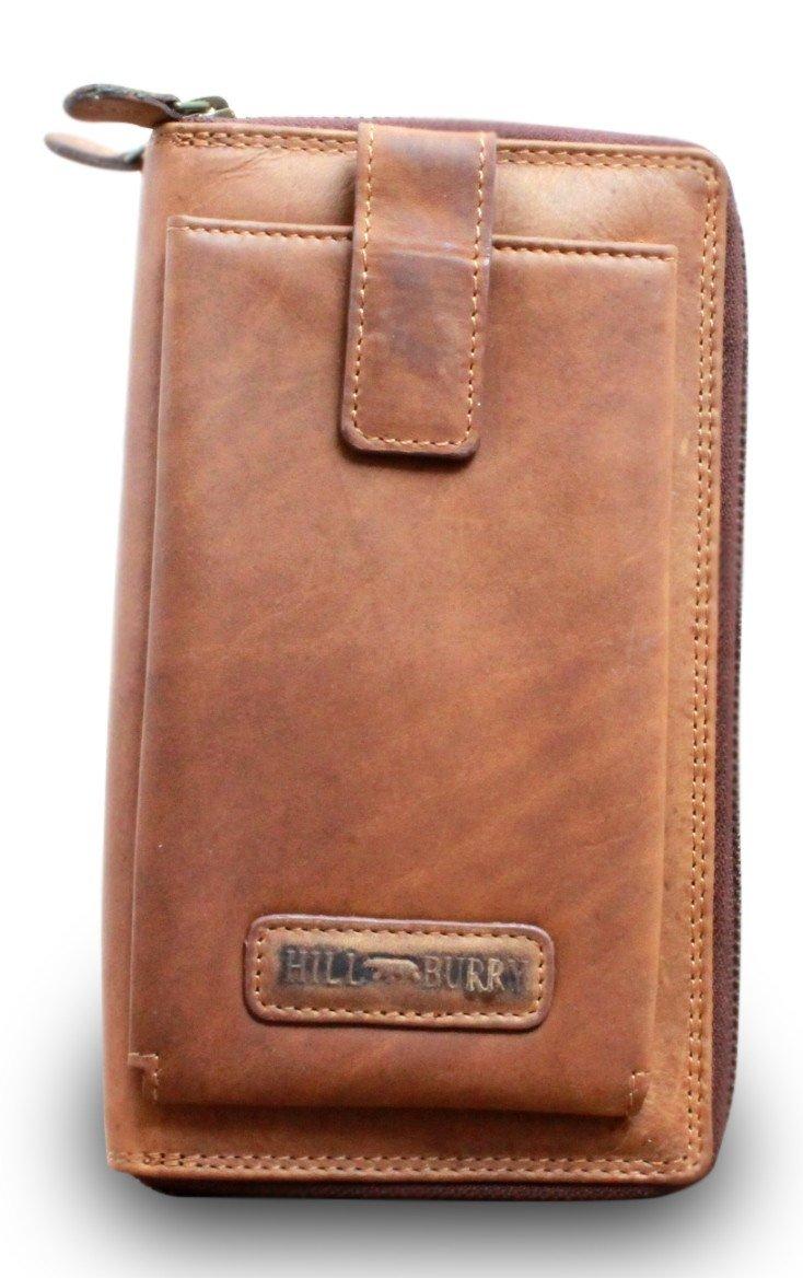 Hill Burry Leder Organizer Kreditkartenetui Reisebrieftasche Flug Brieftasche Braun o. Schwarz, Farbe:Braun