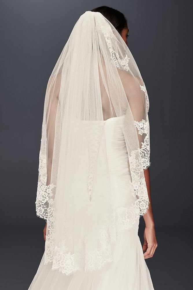 Eyelash Lace Fingertip Veil Style V2010, Ivory by David's Bridal (Image #2)