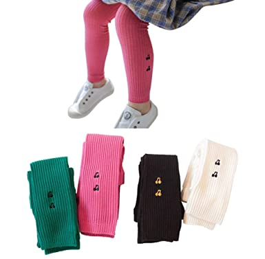 41acf6bf11a7c Amazon.com: 4 Pack Little Girls Cute Embroidery Ankle Knit Leggings Pants  Footless Tights Stocking 4-10T: Clothing