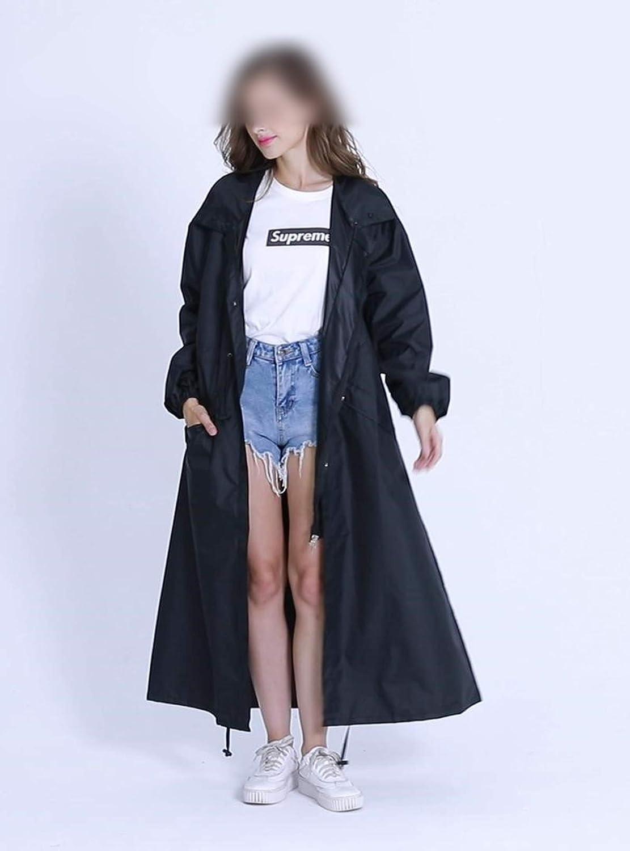 Whocare Manteau de pluie tendance pour femme Respirant Long imperméable portable Pois Bleus