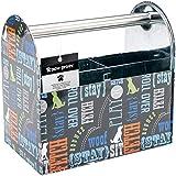 Paw Prints Tin Pet Supply Caddy, Wordplay Design, 5.13 x 8 x 8.38 Inches (37591)