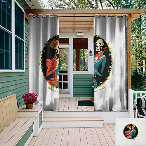 leinuoyi Day of The Dead, Outdoor Curtain Ties, Skeleton Couple in Love Oval Frame with Green Leaves Mexican Tradition, Outdoor Curtain Set for Patio Waterproof W108 x L96 Inch Multicolor
