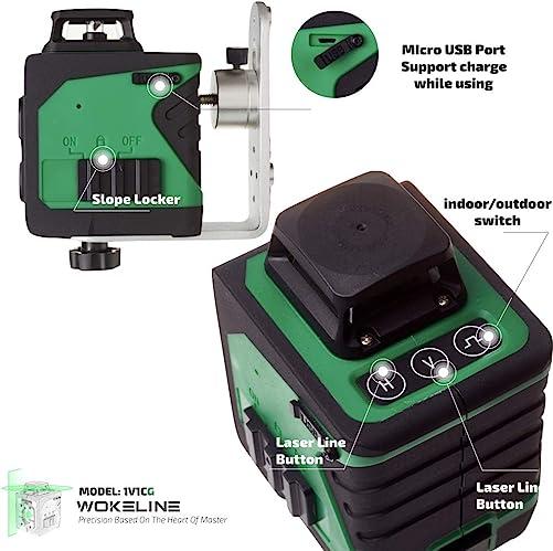 WOKELINE 1V1CG Green Beam Professional High Precision Visibility Laser Level Laser Class 2M, Wave length520nm, 1mW EN 60825-1 2014