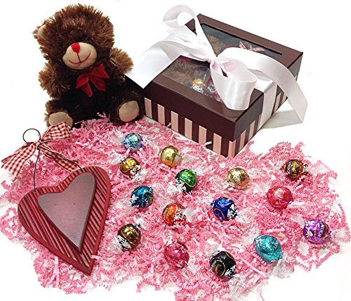 Pink Stripe Valentines Day Gift Box - Lindt Lindor Truffles Chocolate Candy, Teddy Bear Stuffed Animal & Wooden Heart Holiday Decoration