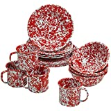 Enamelware 16 Piece Dinnerware Starter Set - Red Marble
