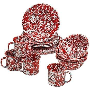Beautiful Enamelware 16 Piece Dinnerware Starter Set  Red Marble