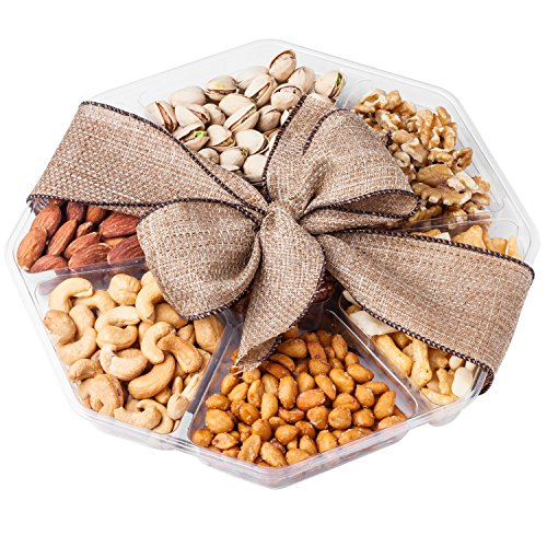 Nutty New Yorker Gourmet Food Nuts Gift Basket, 6 Different Nuts and Rice Cracker Mix – 18.1 Ounces – Kosher Certified