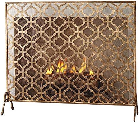 暖炉スクリーン シングルパネル 暖炉スクリーン 暖炉のドア、 ラージクラシック 防火スクリーン スパークガードゲート、 直火/ガス火災/ログウッドバーナー、 ヴィンテージゴールド