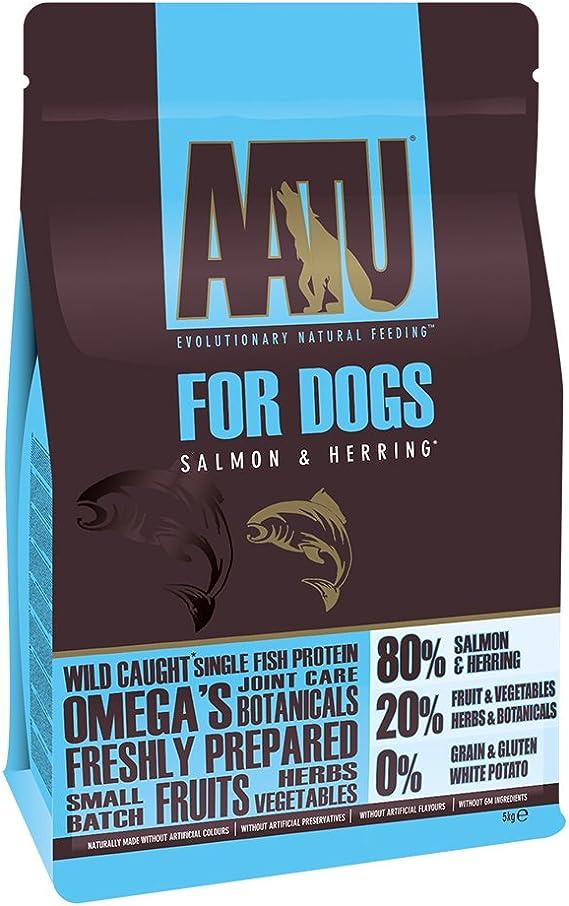 AATU Dog 80/20 Comida Seca para perro, Salmón, Alto en proteínas, Receta libre de cereales, Sin ingredientes artificiales, 5 kg