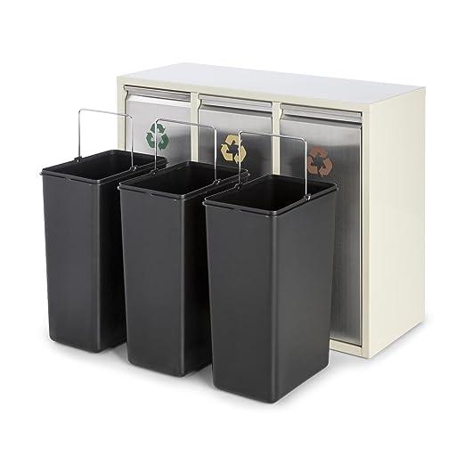 Klarstein Ordnungshüter 3 Cubos de Basura para Reciclaje 45L (3 basureros de 15 litros, portezuela Frontal, identificación por Colores) - Crema Beige