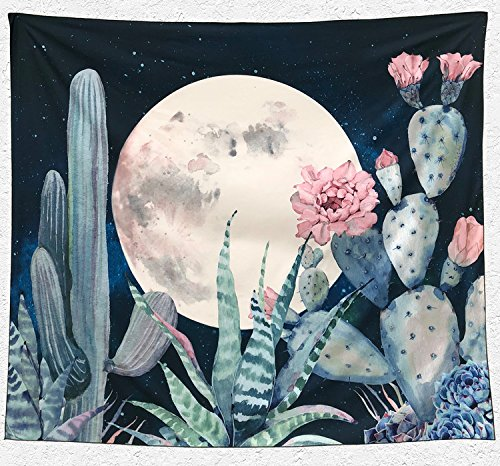 Aucheer Cactus Tapestry, Moon and Cactus landscape Wall Tape