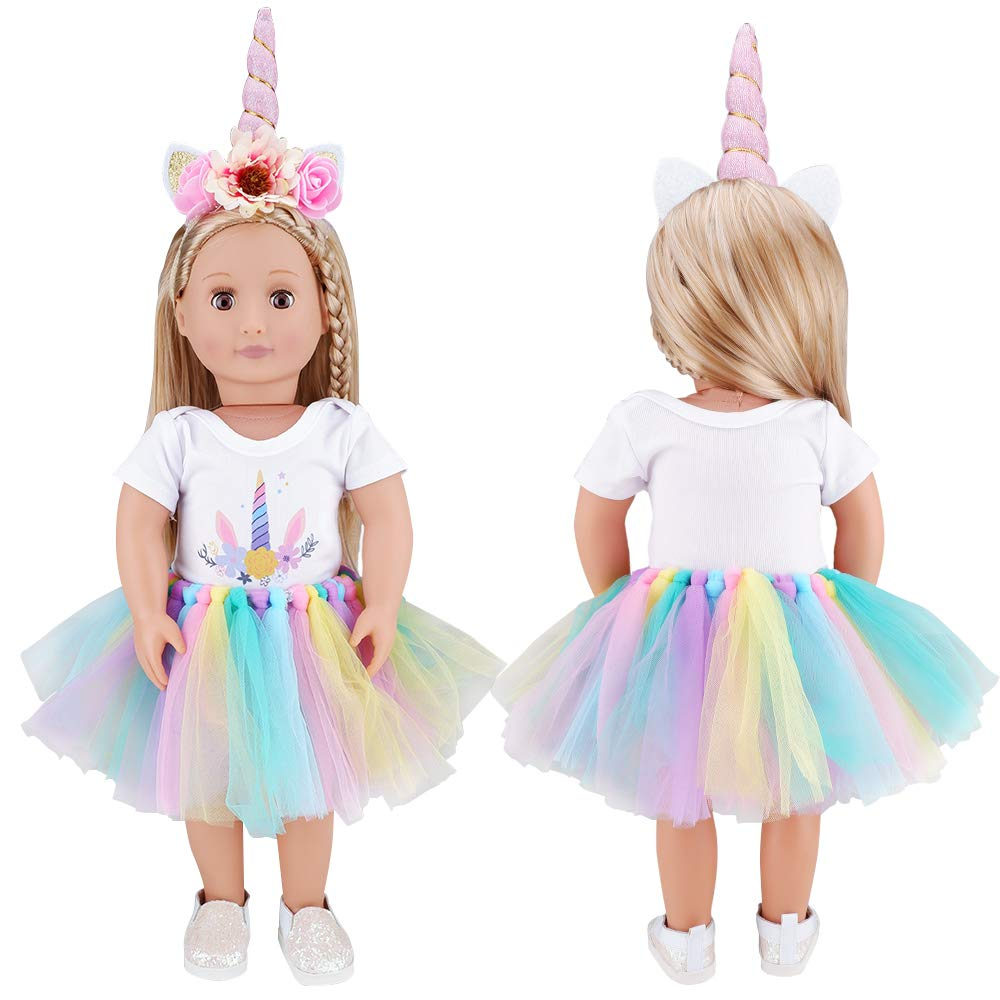 E-TING Dolls Unicorn Clothes, Headband, Tutu fits for 18 inch Dolls Like American Girl, Our Generation,My Life,Adora,Gotz Doll Accessories Costume Outfits