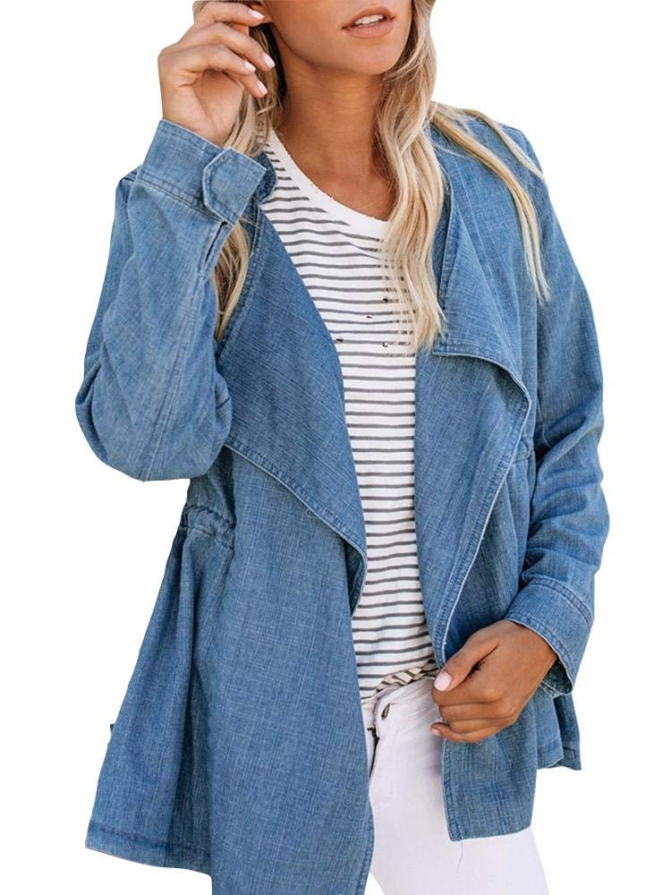 Haloumoning Womens Casual Denim Coat Open Front LooseEmpire Waist Stand Collar Trench Outwear