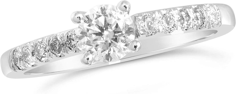 Anillo solitario de oro blanco de 0,50 quilates con grandes diamantes en los hombros.
