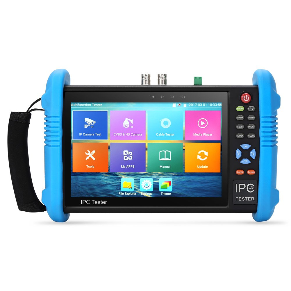 Koolertron Upgraded 7 inch IPS Touch Screen H.265 4K IPC-9800 ADH Plus IP Camera Tester TVI CVI AHD IP CVBS CCTV Tester HDMI Input&Output TDR Built in WiFi by Koolertron