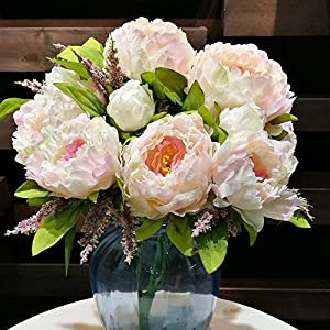 Hilingo 1 Bouquet Fake Peony Artificial Flower Home Wedding Decor Pink (With Free Gift) 83