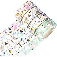 Yubbaex Gold Washi Tape IG Style Silver Foil Masking Tape Set Decorative for Arts, DIY Crafts, Bullet Journal Supplies…