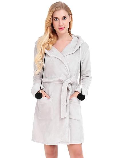 Dromild Señoras Robe algodón Bata Albornoz Suave Bata Larga para Mujer con Bolsil S-XXL: Amazon.es: Ropa y accesorios