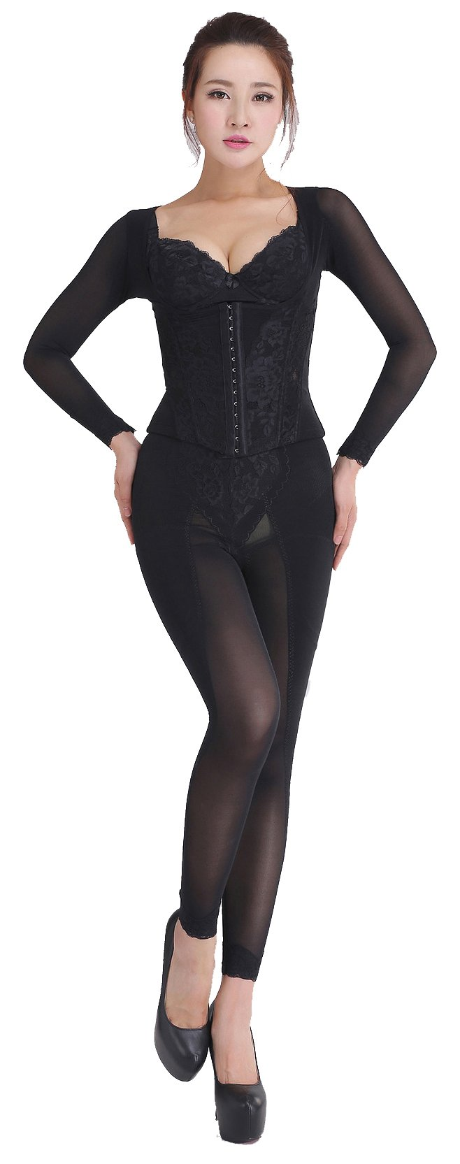 Ya Lida Corset thin clothing abdomen thin waist shapewear piece suit Black XXX-Large