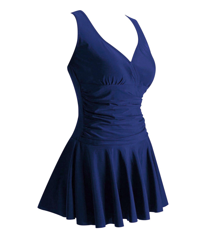 MiYang Women's Plus-Size Flower Printing Shaping Body One Piece Swimdresses Tag 3XL(US XL) Navy Blue