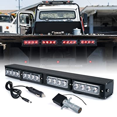 "Xprite 21.5"" LED Trailer Towing Lights Wireless Light Bar w/ 4 Pin Round Transmitter for Tow Truck Vehicle Tail Brake Signal Emergency Lamp Magnetic Base: Automotive"