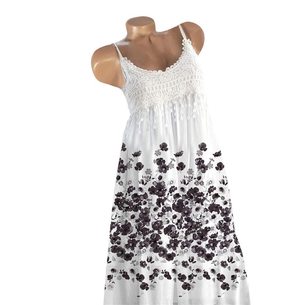 CUTUDE Damen Kleider Röcke Kurzarm Sommerkleider Mode Frauen Casual Vintage Stickerei Print Ärmellos O-Neck Swing Dress Strandkleid