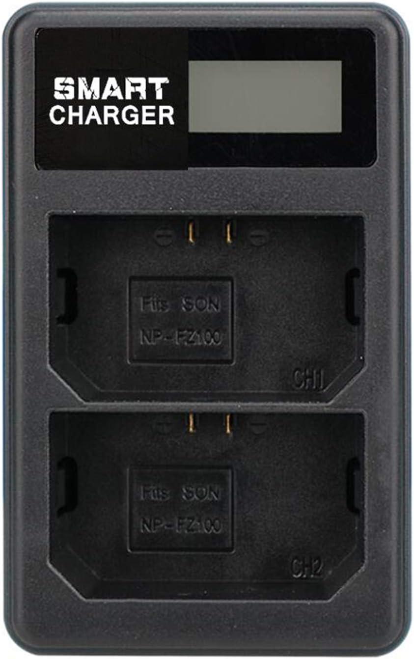 NP-FZ100 NP FZ100 NPFZ100 Cargador de bater/ía doble recargable para Sony NP FZ100 y c/ámara ILCE-9 A7RIII A7R3 A9 7RM3 1 unidad