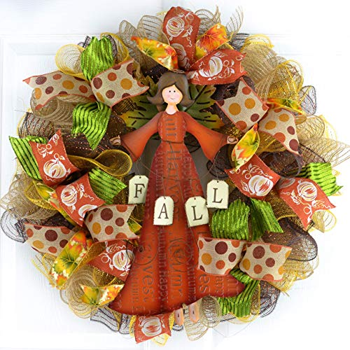 Angel Pumpkin Harvest Fall Thanksgiving Autumn Deco Mesh Door Wreath : Brown Orange Yellow Green