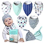 Baby Bandana Drool Bibs for Boys and Girls with Matching Beanie Hats, Unisex 8-Pack, Baby Bibdanas for Drooling and Teething, 100% Cotton, Soft, Absorbent, Baby Shower Gift for Newborns, Bonus EBook