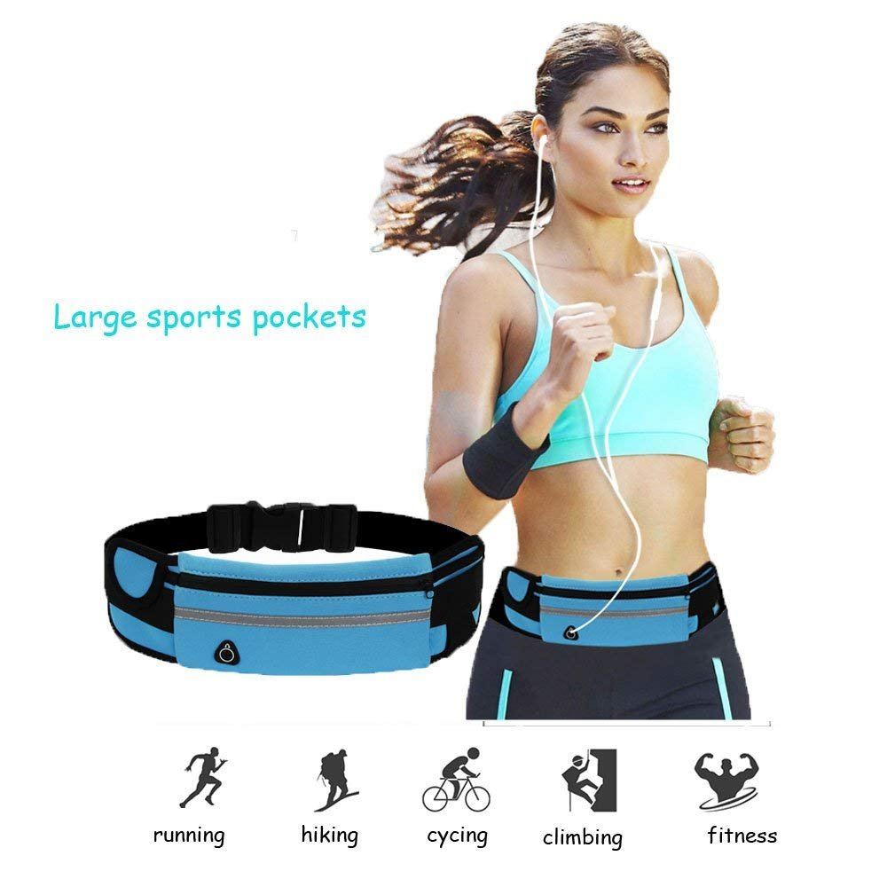 Auzmo Fitness USA Running Belt Fanny Pack-Waist Pack Pink Men and Teens-Fashionable Waist Pack for Running-Jogging-Walking-Cycling-Hiking-Gym-Beach-Pool for Women