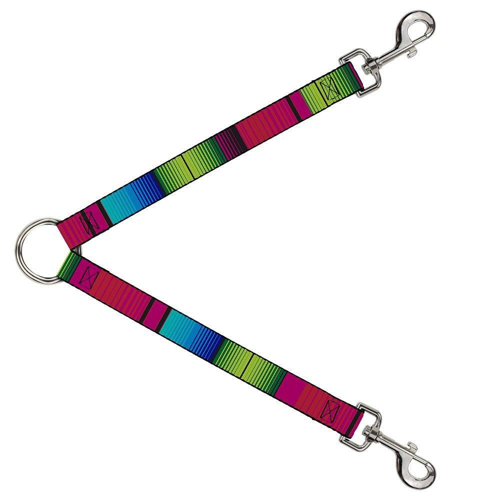 Buckle-Down DLS-W32634 Zarape7 greenical Pinks bluees Greens Black Leash Splitter, 1  Wide 30  Length