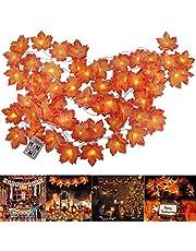 Lichtsnoer, voor herfstdecoratie, bladslinger, esdoornbladen, lichtketting, 20 leds, herfst-esdoornblad, 3 AA-batterijen, decoratieve verlichting voor thuisfeest, Halloween, oogstfeest